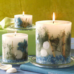 leaf and bark candles